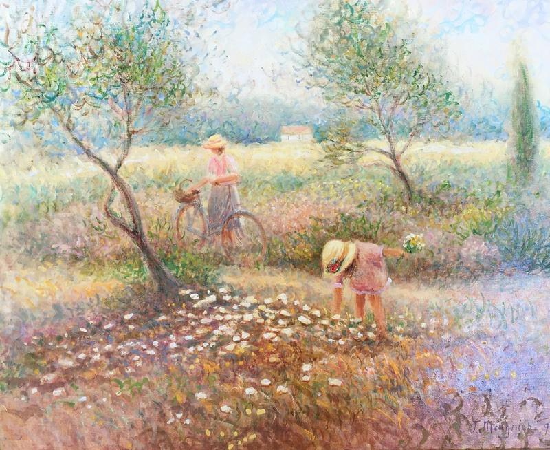 Jacques MEUGNIER - Pintura - PEINTURE CHAMPETRE MERE ET FILLE