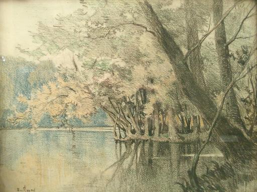 Émile APPAY - Dibujo Acuarela - La rivière