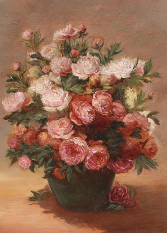 Achille Théodore CESBRON - Painting - Bouquet