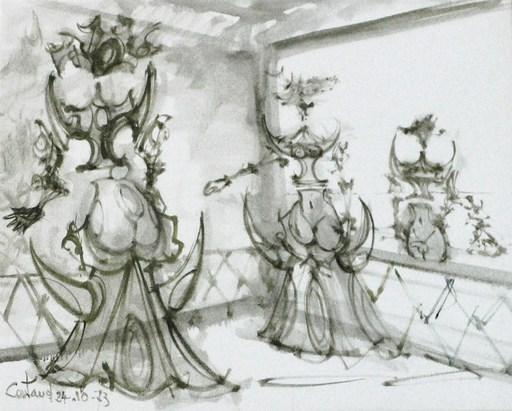 """Lucien COUTAUD - Disegno Acquarello - """"Femmes fleurs II"""""""