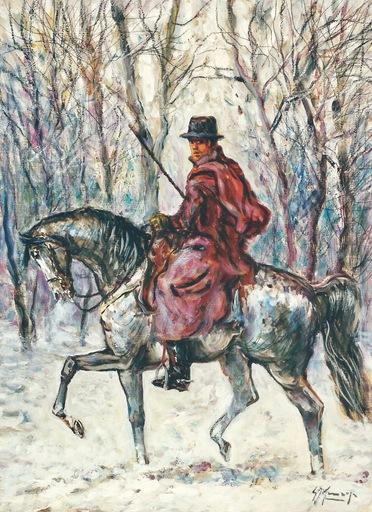 Giovan Francesco GONZAGA - Painting - Buttero sulla neve