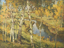 Konstantin Ivanovich GORBATOV (1876-1945) - Landscape with Birches and River