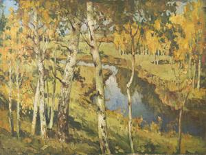 Konstantin Ivanovich GORBATOV, Landscape with Birches and River