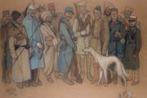 Abel Pfeffermann PANN - Zeichnung Aquarell - Soldiers in World War I