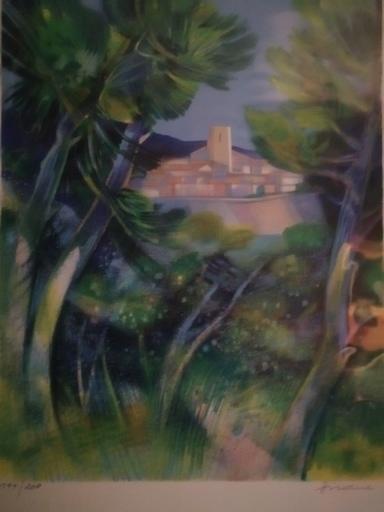 Camille HILAIRE - Estampe-Multiple - Village entre les arbres
