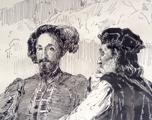 Ulpiano CHECA Y SANZ - Zeichnung Aquarell - Gonzalvo de Córdoba y  Cesar Borgia