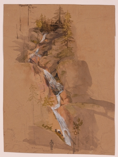 "Franz REINHOLD - Drawing-Watercolor - ""Waterfall by Hallstatt"", 1881"