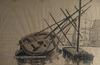 Jean PESKÉ - Zeichnung Aquarell - Bateau / voilier  sur le port