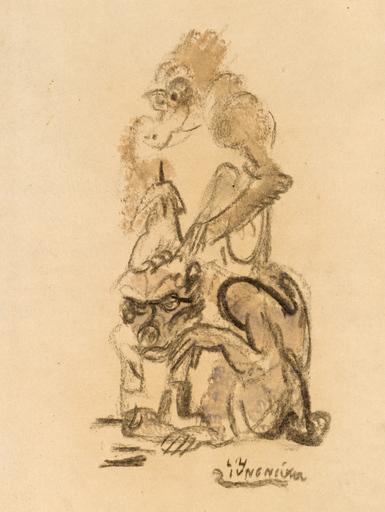 Ludwig Heinrich JUNGNICKEL - Zeichnung Aquarell - Zwei Affen