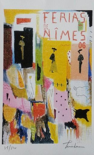 Michel TOMBEREAU - Stampa Multiplo - Ferias  Nimes fond jaune