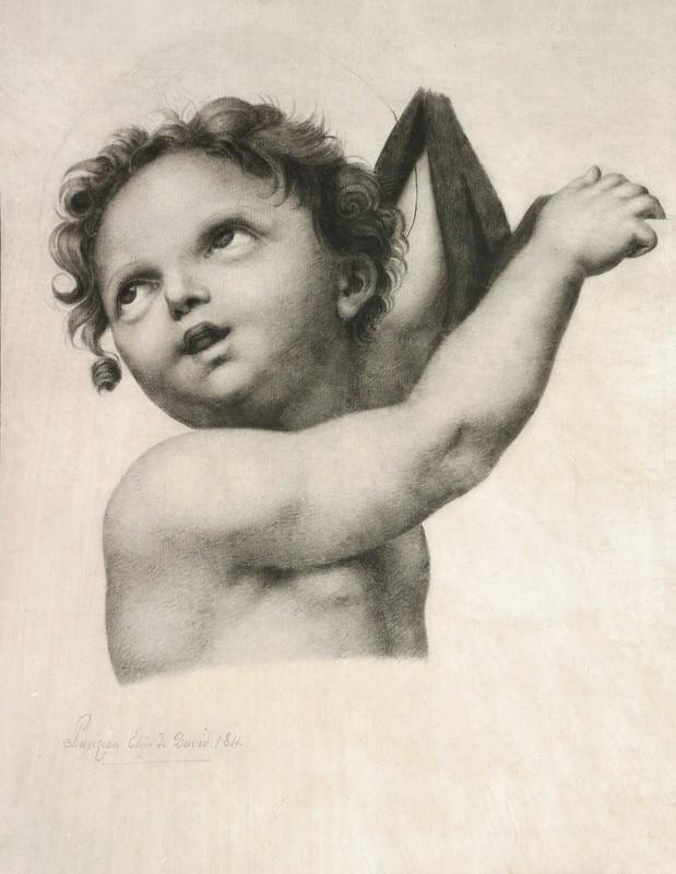 Edme Gratien PARIZEAU - Dibujo Acuarela - Jésus-Christ ou Saint Jean-Baptiste enfant