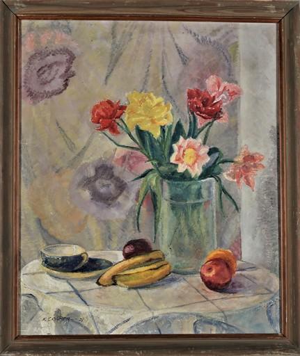 Konrad CRAMER - Painting - Still life with flowers