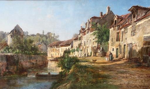 Alexandre René VÉRON - Peinture - Crécy en Brie, le quai des tanneries 1871