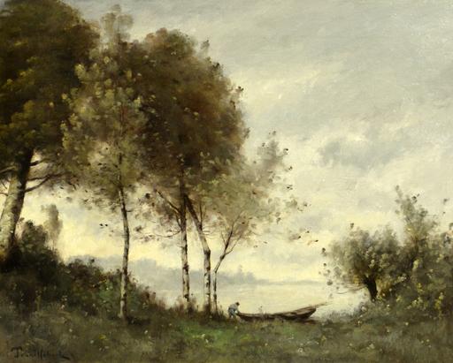 Paul Désiré TROUILLEBERT - Pintura - Pêcheur amarrant sa barque