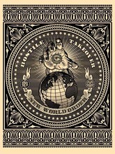 "Shepard FAIREY - Stampa Multiplo - ""Hostile takeover"" (Black)"