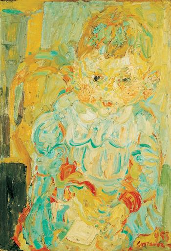 アンドレ・コタボ - 绘画 - Enfant avec un livre, 1955