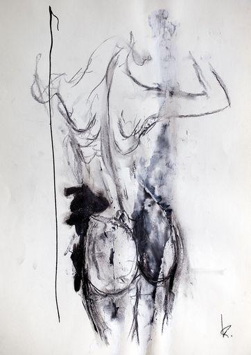 Guillaume KALT - Dibujo Acuarela - Femme de dos (2)    (Cat N° 6148)