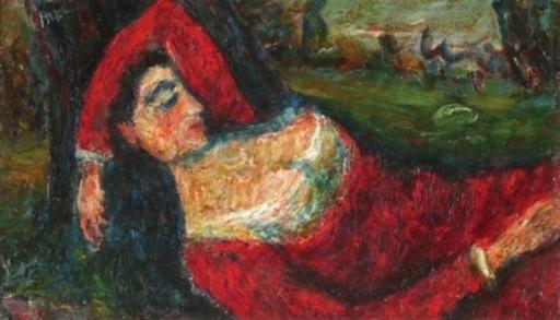 Moshé Elazar CASTEL - Painting - Woman in Red Dress