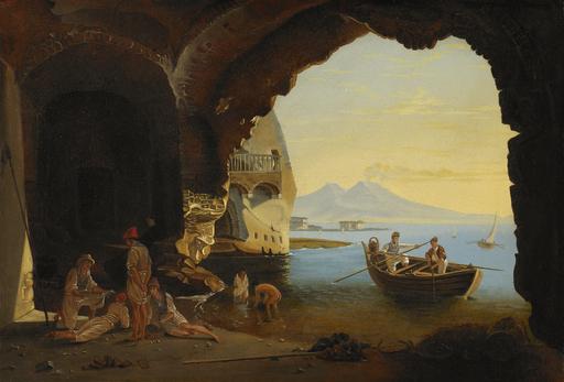 Franz Ludwig CATEL - Painting - Aussicht auf den Golf von Neapel mit Vesuv.