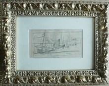 Jean POUGNY - Drawing-Watercolor - «Port » & «Au jardin du Luxembourg»