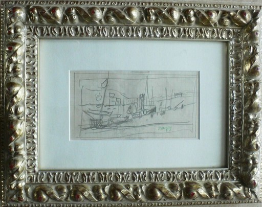 Jean POUGNY - Dibujo Acuarela - «Port » & «Au jardin du Luxembourg»