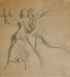 Bertel THORWALDSEN - Dibujo Acuarela - Amor & Psyche schwebend,bez.Alb.Thorvaldsen Maxen 17.06.1841