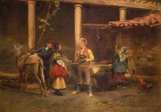 Jules WORMS - Painting - Gespräch am Brunnen
