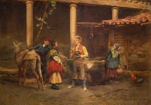 Jules WORMS - Pintura - Gespräch am Brunnen
