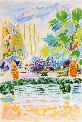 Jules CAVAILLES - Drawing-Watercolor - Le banc à Cannes