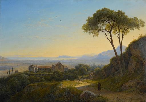 Carl MORGENSTERN - Painting - Blick vom Kloster Baida auf Palermo.