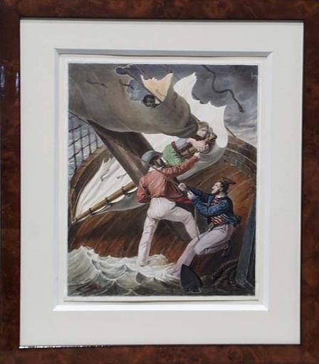 "Anton, Ritter VON PERGER - Dessin-Aquarelle - ""Scene from Shakespeare's The Tempest"", Gouache"