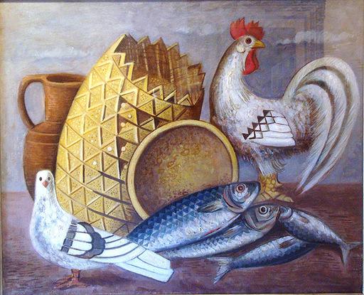 Gino SEVERINI - Gemälde - NATURA MORTA CON GALLO, COLOMBA E PESCI