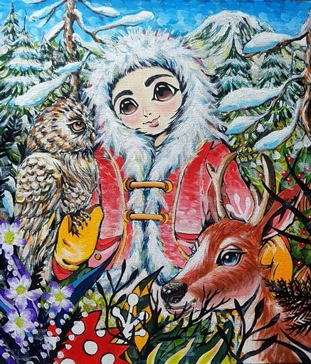 Seung-Hun SHIN - Gemälde - Fantasy Jejuisland - island girl story