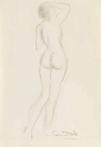 Salvador DALI - Dessin-Aquarelle - Femme nue de dos