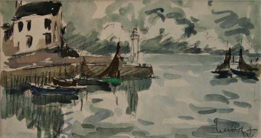 Fernand HERBO - Disegno Acquarello - Honfleur, Normandie