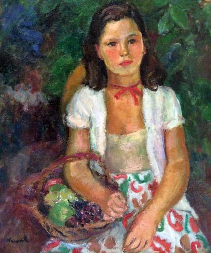 Pierre DEVAL - Painting - Jeune fille au panier
