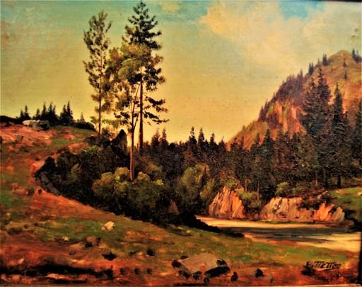 Edouard METTON - Pintura - Paysage de montagne, Alpes, Valais Suisse