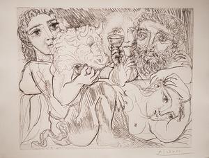 Pablo PICASSO - Print-Multiple - Minotaure, Buveur et Femmes