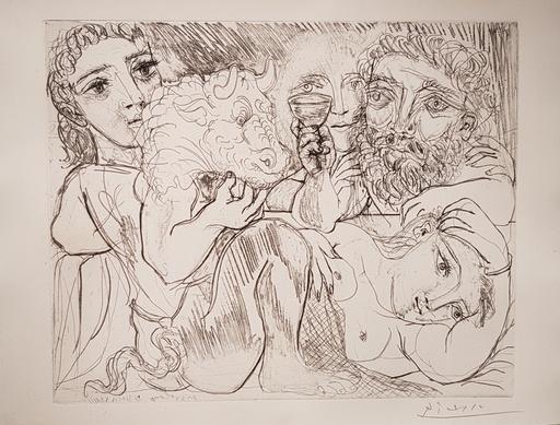 巴勃罗•毕加索 - 版画 - Minotaure, Buveur et Femmes