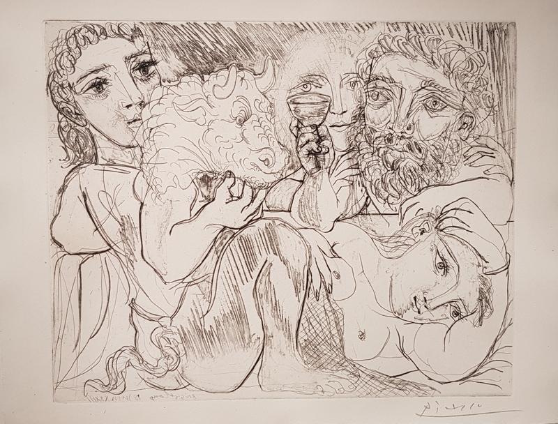 Pablo PICASSO - Druckgrafik-Multiple - Minotaure, Buveur et Femmes