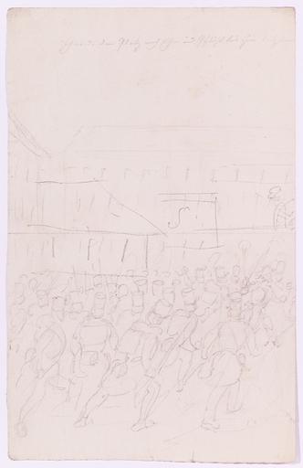 "Johann Nepomuk HOECHLE - Dibujo Acuarela - ""Napoleonic Battle Scene"", early 19th Century"