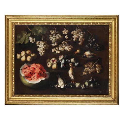 Michelangelo PACE DA CAMPIDOGLIO - Pintura - Natura morta con frutti e uccelli
