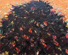 Max UHLIG - Painting - Baumkrone vor Rot