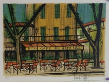 贝纳•毕费 - 版画 - ST TROPEZ  - CAFE DES ARTS