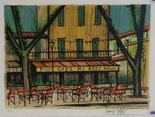 Bernard BUFFET - Estampe-Multiple - ST TROPEZ  - CAFE DES ARTS
