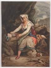 "Adèle Anaïs TOUDOUZE - Drawing-Watercolor - ""Wife of a Bandit"", Watercolor"