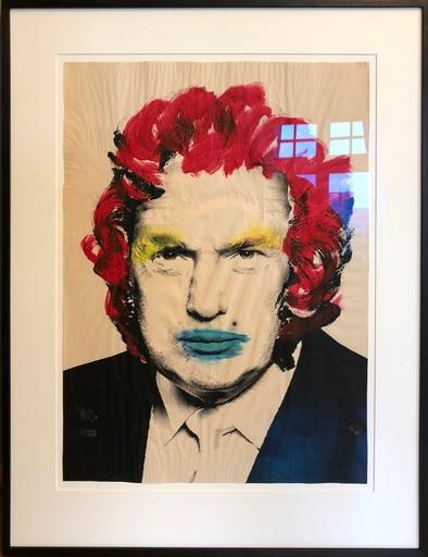 MR BRAINWASH - Disegno Acquarello - Donald Trump (Rote Haare)