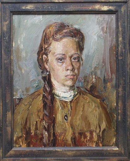 "Vassili KARKOTS - Gemälde - ""Village Teacher"", Oil Painting by Vasili Karkots"