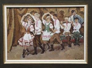 "Elena Vatslovana YANCHAK - Gemälde - ""Ukrainian Folk Dance"", Oil Painting"