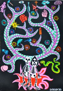 Hervé DI ROSA - Zeichnung Aquarell - L'arbres aux squelettes